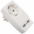Фильтр-розетка сетевая с 2мя USB 16А 2000mA