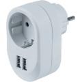Фильтр-розетка сетевая с 2мя USB 16А с индикатором