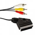 Шнур SCART(Plug) шт-3RCA (plug) шт  1,5 м с переключателем