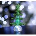 Елочка новогодняя зеленая, 13 см 1LED RGB