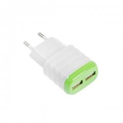 Сетевое зарядное устройство  2USB  2.1/1 A зеленый