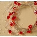 Гирлянда нить Роса-сердце красная  3м 30 LED 6V
