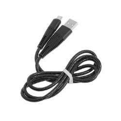 Кабель micro USB - USB  1А 1м  резина, длинный штекер