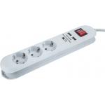 Фильтр сетевой SMART ASD ПВС 3*0.75 10А 3 роз.+2 USB  3 m