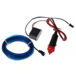 Неоновая нить плоская 12V  2м  адаптер, синий