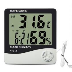 HTC-2/Термометр комнатно-уличный c часами/